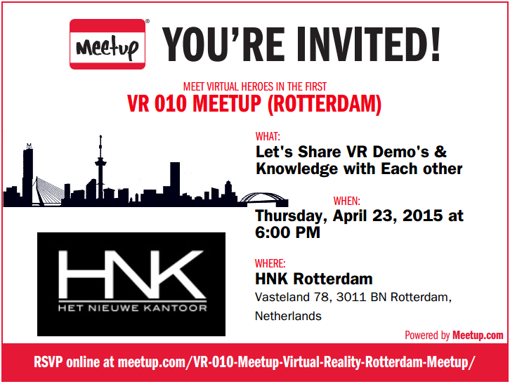 Meetup VR 010 Rotterdam - 23 april 2015
